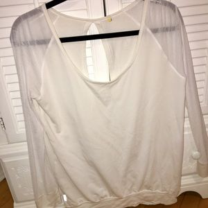 Lole white open bank long sleeve shirt Mesh sleeve